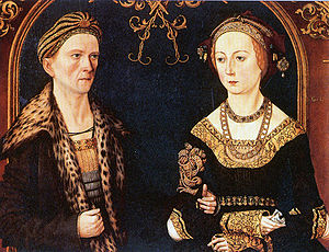 Grand Burgher - Portrait of Grand Burghers Jakob Fugger von der Lilie and wife Sibylle Artzt (ca. 1500). Jakob Fugger von der Lilie Großbürger zu Augsburg (1459-1525) at that time period was known as one of Europe's most significant merchants, mining entrepreneur and banker, who elevated to Grand Burgher of Augsburg through marriage to his wife Sibylle Artzt Großbürgerin zu Augsburg the daughter of an eminent Augsburg Grand Burgher (Großbürger).