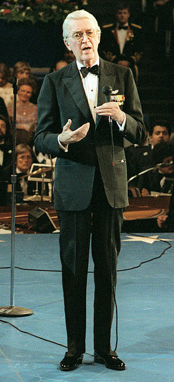 Speaking at The Kennedy Center on Inauguration Day, 1981, in Washington D.C. JamesStewart1981.jpg