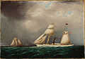 James E. Buttersworth - American Steam-Sail Yacht EMILY at Sea with Four Schooners Off Bow.jpg