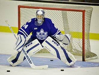 Pads - Goaltender James Reimer using his pads during a warm-up drill.