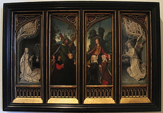 The Annunciate Virgin, Saint Andrew with a Donor and His Sons, Saint Catherine of Alexandria with a Donor and Her Daughters, and the Annunciate Angel