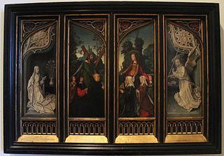 Vierge de l'Annonciation, Saint André avec un donateur et ses fils, Sainte Catherine d'Alexandrie avec une donatrice et ses filles, et Ange de l'Annonciation