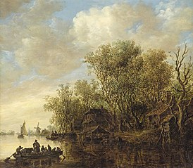 River Landscape with Fully-laden Ferry Boat