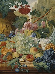 A Still Life of Flowers and Fruit, upon a Ledge, in a Park Setting