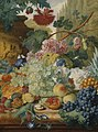 Jan van Huysum - A Still Life of Flowers and Fruit, upon a Ledge, in a Park Setting NTII DMS 814216.jpg