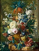 Jan van Huysum - Flowers in a Vase with Crown Imperial and Apple Blossom at the Top and a Statue of Flora 1731-2.jpg