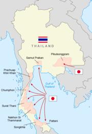1941年12月8日の日本軍の進路