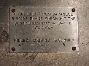 USS Birmingham (CL-62) - Image: Japanese Suicide Plane 2