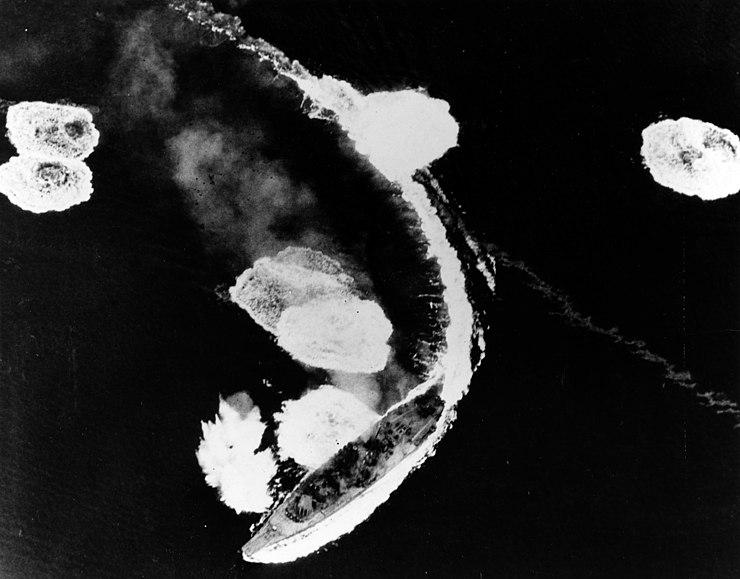 Japanese battleship Yamato under air attack off Kure on 19 March 1945 (80-G-309662)