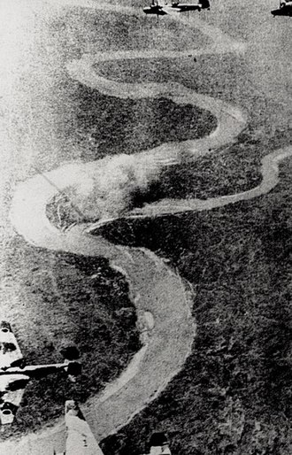 Sichuan - Japanese bombers bombing a Chinese road in Sichuan during WW2