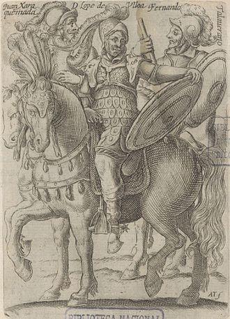 Fernando Talaverano Gallegos - Engraving of three governors of Chile. Fernando Talaverano is shown on the right