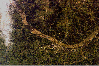 Jefferson City, Missouri - Photograph of Jefferson City and its geography from the International Space Station