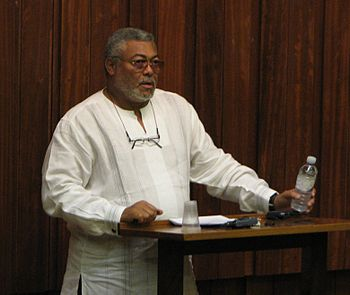 English: Former president of Ghana Jerry Rawli...