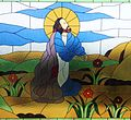 Jesus Praying Stained Windows in Bukit Doa Getsemane.JPG