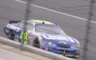 Jimmie Johnson - Johnson qualifying at Auto Club Speedway in 2005.