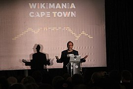 Jimmy Wales speech at Wikimania 2018.jpg