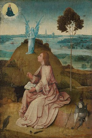 Armageddon - Saint John the Evangelist on Patmos. Painting by Hieronymus Bosch (1505).