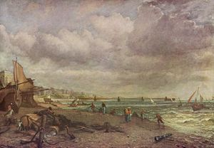 Royal Suspension Chain Pier - Brighton beach with the Chain Pier in the background.  By John Constable c.1824