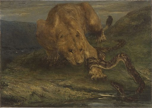 John Macallan Swan - A Lioness and a Snake