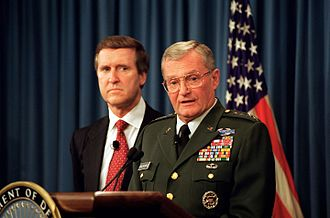 John Shalikashvili - U.S. Secretary of Defense William Cohen (left) and Shalikashvili (right) at a Pentagon briefing on July 31, 1997.