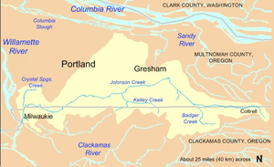 Johnson Creek flows through Clackamas and Multnomah counties from near Cottrell, Oregon, on the east to Milwaukie, Oregon, on the west. Much of its watershed lies in Gresham and Portland, both in Multnomah County.