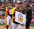 Jose Fernandez rolls out the Scream emoji during Giancarlo Stanton's -HRDerby performance. (28493246651).jpg