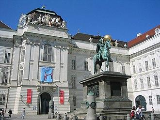 Austrian National Library - Court Library (Hofbibliothek) entrance at Josefsplatz