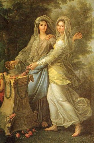 Princess Joséphine of Lorraine - Joséphine with her sister Charlotte, c. 1770