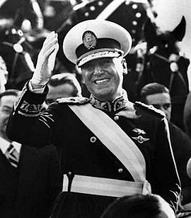 Juan Peron, President of Argentina from 1946 to 1955 and 1973 to 1974, admired Italian Fascism and modelled his economic policies on those pursued by Fascist Italy. Juan Peron con banda de presidente.jpg