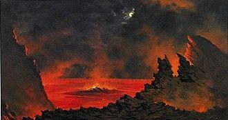 Jules Tavernier (painter) - Image: Jules Tavernier (1844 1889) 'Volcano at Night', ca. 1880s, oil on canvas, 19 x 36 in