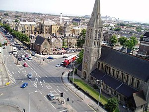 Newport Road - View looking onto St James Church and CRI, from Eastgate House