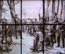 """Theodor Körner, im Lager bei Gadebusch, seinen Kameraden sein """"Schwertlied"""" vortragend (Glasfenster nach einem Gemälde von Rudolf Eichstaedt im Haus einer Göttinger Studentenverbindung) (Quelle: Wikimedia)"""