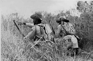 Kenya in World War II - African soldiers of the King's African Rifles train in Kenya, 1944.
