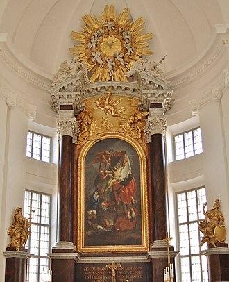 David von Krafft - Altarpiece inserted in the columns  at  Kalmar Cathedral (1712)