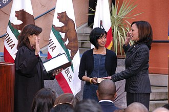Kamala Harris - Harris being sworn-in as Attorney General