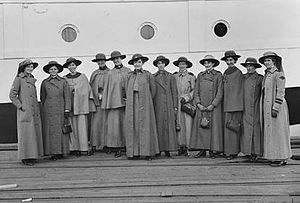 TSS Kanowna - Twelve nurses aboard Kanowna, to service the hospital ship
