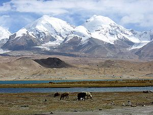 Kongur Tagh - The Kongur Tagh range in 2005. The summits visible from the viewpoint on the Karakoram highway to the south west are those of Kuk Sel (6,715 metres) and Kezi Sel (6,525 metres), about 5 km and 7 km south of the main summit.