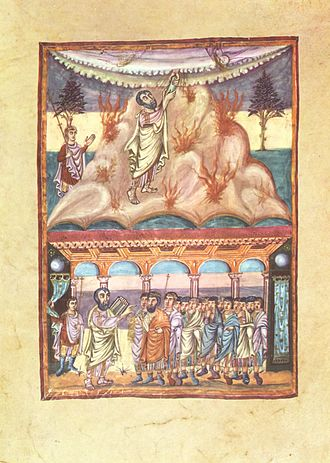 Book of Deuteronomy - Moses receiving the Law (top) and reading the Law to the Israelites