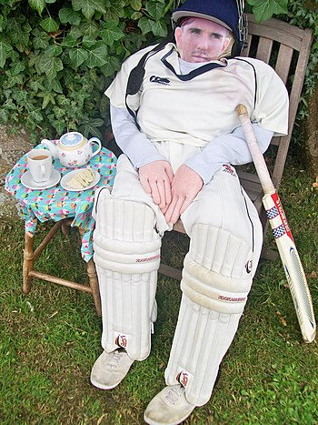 English: Scarecrow Number 3, a cricketer with ...