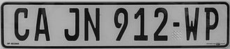Vehicle registration plates of South Africa - Image: Kfz SA Capetown