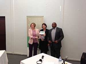 Kate O'Regan - O'Regan (centre) officially hands the Khayelitsha Commission's report to Premier Helen Zille.