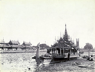 Thibaw Min - King Thibaw's Royal Barge on the Mandalay Palace moat in 1885.