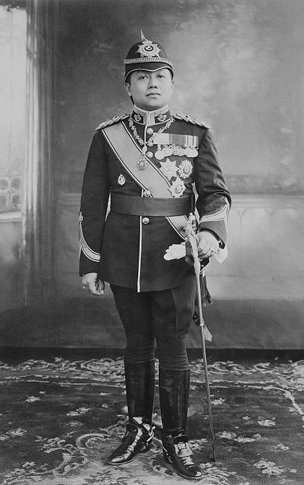 King Vajiravudh of Siam in the uniform of the Durham Light Infantry. the photo taken in 1917 after the king was made an honorary General in the British Army. King Vajiravudh (Rama VI) in the uniform of the Durham Light Infantry.jpg