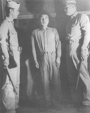 Kōsō Abe - Admiral Kōsō Abe (center) during the Guam War Crimes trial, 1946