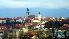 View of Kranj with St. Cantianius and Companions Parish Church (left) and Our Lady of the Rosary Church (right)
