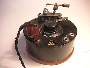 Cat's-whisker detector - A small portable crystal radio with a cat's whisker detector visible at top