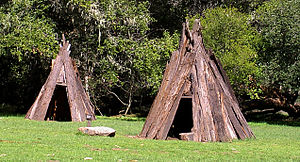 Reconstructions of Coast Miwok shelters at Kule Loklo.