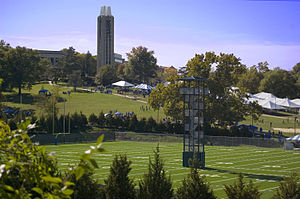 Memorial Stadium (University of Kansas) - Kansas Football's new practice fields and tailgaters on the hill below the Campanile.