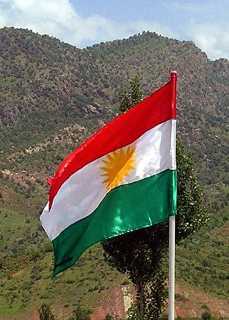 Iraqi–Kurdish conflict - Kurdish flag in northern Iraq