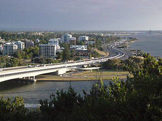 Kwinana Freeway am Kings Park, Blick nach Süden